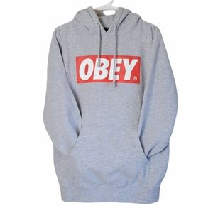 OBEY Hoodie Gray Red M